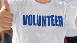 Person wearing volunteer shirt
